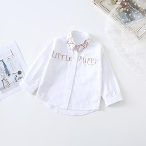 Shirts WLG Girls Fashion Long Style Kids Letter Cartoon Printed White Turn Down Collar Shirt Baby Girl All Match Tops For 1-5T
