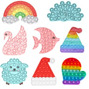 Christmas Pop it Fidget Toys Push Bubble Rainbow Cute Sheep Swan Fish Autism Needs Stress Relief Toy Children's Day Gift for Kids DHL