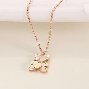 Anhänger Halsketten Europa und die Vereinigten Staaten Titanium Steel Liebe Halskette Weibliche Weiße Fritillaria Bbeating Herz Bär Collarbone Kette JE