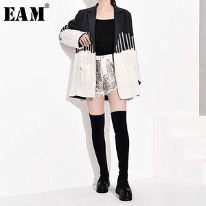 [Eam] Loose Fit Gray Cotrast Color Split Brightness Jas New Revers Long Mouths Women Jas Mode Spring 2021 JZ2481