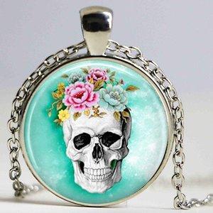 Степенные ювелирные изделия череп ожерелье цепи сахар стекло кабошон кулон рождественский подарок для женщин ожерелья