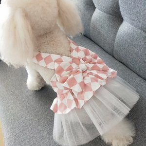 Spring Summer Dog Apparel Pet Clothes Puffy Skirt Dogs Bow Vest Cute Dress For Small Cat