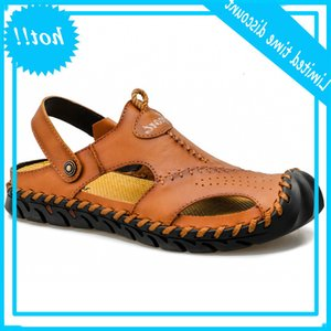 Big dock layer sandals summer leather Korean fashion casual beach men's shoes