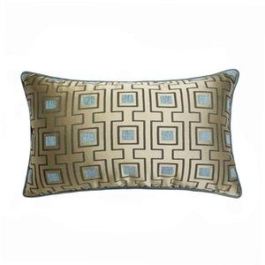 Cushion Decorative Pillow DUNXDECO Cushion Cover Decorative Case Modern Simple Blue Geometric Jacquard Soft Sofa Chair Bedding Coussin