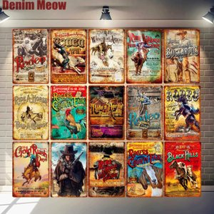 Rodeo Retro Metal Tin Signs Ride Horse Art Poster Bar Pub Cafe Wall Plates Feed Cowboy Gold Rush Plaque Vintage Home Decor N304 Q0723