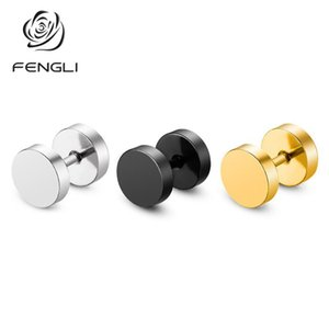 Stud FENGLI 2021 Arrivals Round Stainless Steel 7 Color Barbell Earrings Silver For Women