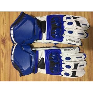Alpine long leather motorcycle gloves, professional racing GP M1, blue, novel