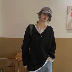 Негабаритная кнопка шеи пружина с длинным рукавом футболка для женщин женские девушки футболка корейский стиль свободный тройник верхняя уличная одежда одежда женская футболка