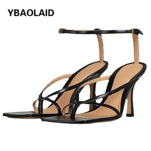 Sandals Summer Sheepskin Flip-Foot Square Toe Strap Cow Leather High Heel 2021 Design Sense Mature Sexy Stiletto