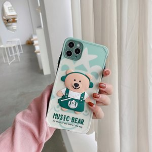 Stereoscopic music bear phone cases color button lens full package for iPhone 12 11 pro promax X XS Max 7 8 Plus