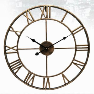 Wall Clocks 40 47CM Nordic Metal Roman Numeral Retro Iron Round Face Black Gold Large Outdoor Garden Clock Home Decoration