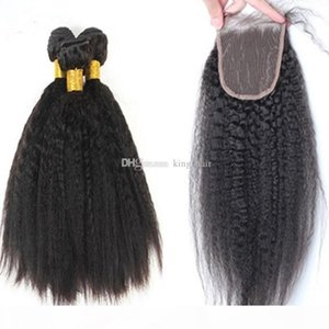 Mongolian 9A Human Hair With Closure 3 Bundles With Lace Closure Free Part 100% Italian Coarse Yaki Weaves With Closure 4pcs lot