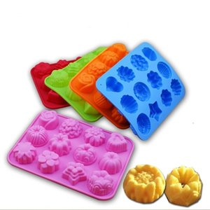 Silicone Cake Mold 12 Grid Household DIY Chocolate Pudding Biscuit Molds Kitchen Baking Tool 5 Color T500602