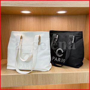 Fashion Classic Paris Pearl Stampato su tela Trucco Cosmetico Borsa Cosmetica Grande capacità Totes Donna Beach Storage Borse Borse con manico