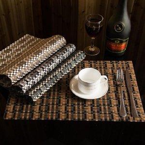 Table Napkin Art Stripe Imitation Weave Insulation Pad PVC Life 2 Pieces Set Kitchen Mats Decorative Steak Plate Mat
