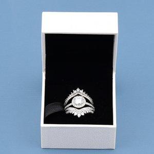 Set de anillos de bodas de moda superior de las mujeres CZ Diamond Princess Bone con caja original para Pandora Real Sterling Silver Silver Anillos de compromiso 4RZT