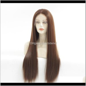 Natural Looking Medium Brown Long Straight Wigs For Women Realistic Soft Hair Synthetic Lace Front Wig High Quality 22Inch Fcdl1 Mnegt