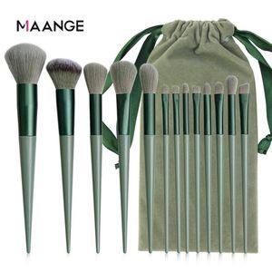 Makeup Brushes 13 Pcs Beauty Tool Set Cosmetic Powder Foundation Blush Blending Brush Green Professional