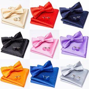 Men Bowtie Cravat Cufflinks Set Solid Silver Point Fashion Butterfly Ties For Mens Party Man Gift Wedding Shirt Accessories Tie Neck