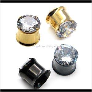 1 Pair Inside Double Flared Stainless Steel Crystal Cubic Plugs Tunnels Saddle Ear Expanders Gauges Cwxj5 Odnrl