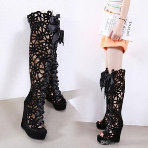 size 35 to 42 black rhinestone hollow out high tube over the knee boots fashion luxury designer women shoes