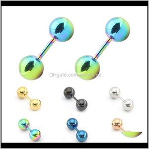 Stud Jewelry Drop Delivery 2021 Japanese And Korean Exquisite Titanium Small Ball Ear Nail Stainless Steel Earrings Anti-Rust Anti-Allergic C