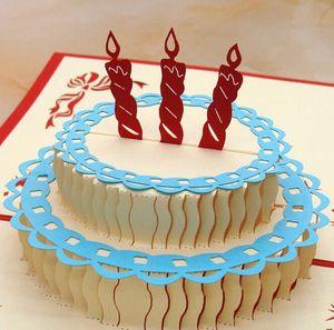 Happy Birthday Cake 3D Popup Greeting Card Birthday Gift 10 pcs lot
