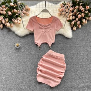 Two Piece Dress Casual Women's Set 2021 Summer Clothing Sets Short Sleeve Skinny Cropped T-shirt Top + Ruched Mini Penci Skirt Sui