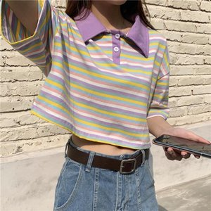 Fashion Harajuku Stripe Crop Top Sexy T-shirt Women Short Sleeve Skinny White T-shirts Vintage Summer Tops Streetwear Clothing
