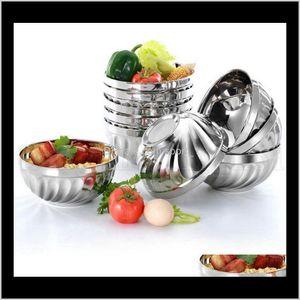 Cuisine de cuisine Cuisine Barre de salle à manger Accueil Jardin Drop Livraison 2021 Double couche Riz en acier inoxydable 12cm 14cm 16cm 18cm Isolation thermique Anti Scald