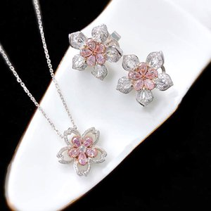 2021 Spring Cherry Blossoms 925 Silver Earrings Pendant Necklace Pink Set Bling Zircon Wedding Bridal for Brides Jewelry