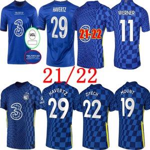 Ziyech CFC 축구 유니폼 Pulisic Mount Kante Havertz Werner Abraham Chilwell Giroud Hudson-Odoi 2021 2022 축구 셔츠 21 22 남성 유니폼