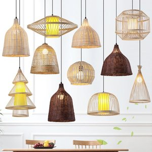Southeast Asia Chandelier Creative Lamp Shade Restaurant Pot Shop Rattan Home Stay Woven Bamboo Hanging Lights Pendant Lamps