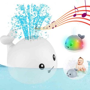 Baby Bath Toys Spray Water Whale LED Light Up Bath Toys for Kids Electric Whale Induction Water Spay Ball Bathroom Bathtub Toys L0323