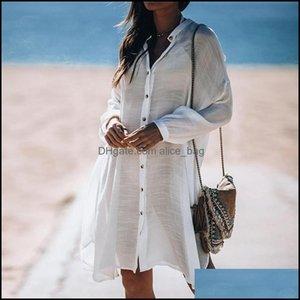 Er-Ups Swimming Equipment Sports & Outdoorser-Ups Women Swimsuit Er Ups Sexy Kaftan Beach Tunic Dress Summer Robe De Plage Solid Cotton Pare