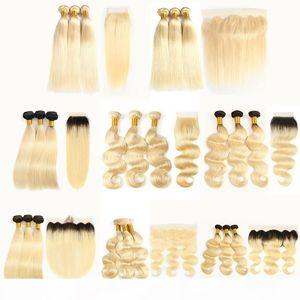 Manikür Hizalı 613 Sarışın Saç Düz Vücut Dalga 613 1B 613 Cheveux Vierges Brésiliens Dantel Kapatma Frontal Uzantıları ile Demetleri Örgü