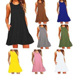 Платья Летняя мода без рукавов карманный жилет сплошной цвет женской одежды