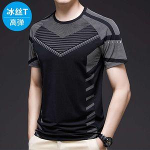 polo shirts Ice short sleeve t-shirt fashion brand cool cut out feeling silk sliding mesh summer sports shirt men's wear