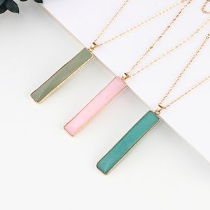 Natural Crystal Stone Pendant Necklace Fashion French Baguette 10 Color Gemstone Necklaces Jewelry Party Gift With Chain GGA4737