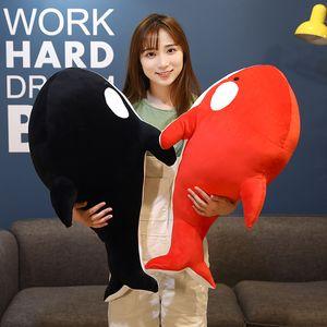 Nice 60cm 80cm Black And Red Shark Plush Toys Big Killer Whale Doll Orcinus Orca Stuffed Sea Animals for Children Birthday Gift LA257