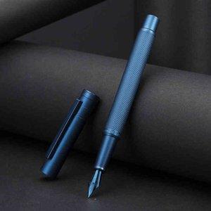 Hongdian Karanlık Orman Metal Çeşmesi Mavi Nib EF / F / Bent Güzel Ağaç Doku Mükemmel Yazma İş Ofis Kalem