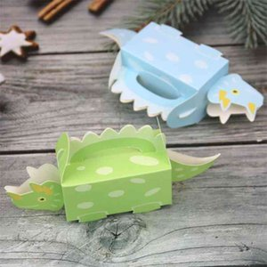 30Pcs Cartoon Dinosaur Candy Box Paper Triceratops Favors Boxes for Kids Birthday Party Decorations Boys Baby Shower Gift Bag 210402