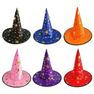 Party Hats Halloween Hat Bronzing Witch Wizard Headgear Masquerade Peaked Cosplay Props Decoration Fancy Dress Up Costume