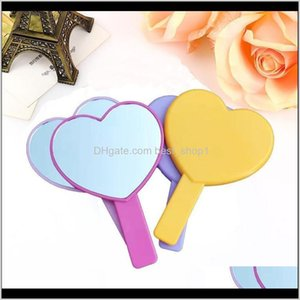 Heart Makeup Mirrors Women Female Handle Hand Lookingglass Ladies Single Side Colorful Compact Mirror Thin Portable 2 4Mx C2 Ewd6X Upl3A