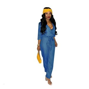 Blue Soft Denim Jumpsuits Rompers 3 4 Sleeves V Neck Loose Jeans Outfits Women Casual Full Length Pants High Quality Fabric