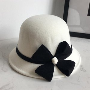 Wide Brim Hats Floral Wool Cap Fedoras Women Party Formal Headwear Lady Winter Fashion Asymmetric Bow Knotted Felt For