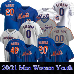 Personalizado 12 Francisco Lindor Mets Jerseys 48 Jacob Grom Baseball 20 Pete Alonso Darryl Strawberry Mike Piazza Hernández Rosario Stroman