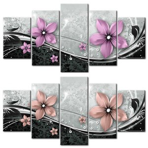 5 PCS set Modern Prints Flowers Oil Painting on Canvas Wall Art Pictures for Home Living Room Decor (No Frame) 623 S2