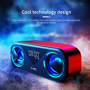 Portable Speakers Speaker Bluetooth Wireless Music Player With LED Display Alarm Clock Dual Support AUX TF Card USB Loudspeaker Soundbar