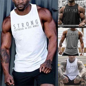 Summer Gyms Fitness Body building Tank Tops Stringer fashion mens Crossfit clothing Loose breathable sleeveless shirts Vest